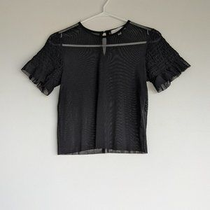 AEO Don't Ask Why Sheer Tee Top Black One Size